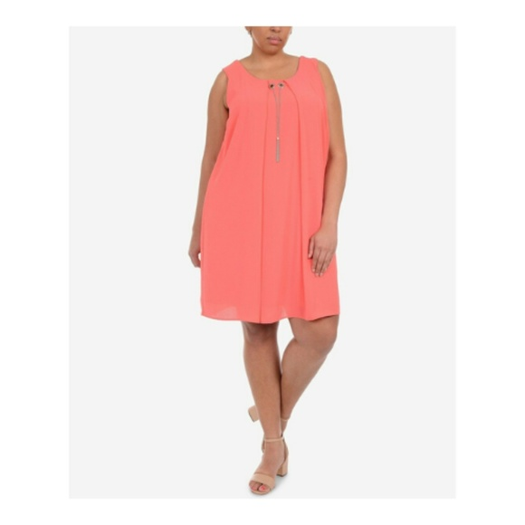 NY Collection Dresses & Skirts - NY Collection Womens Pleated Necklace Solid Shift